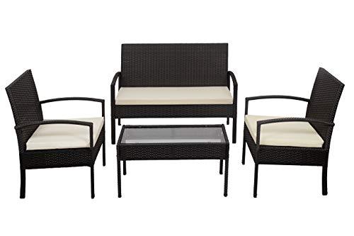 KitGarden - Conjunto Muebles Terraza/Jardín Imitación Ratán, 2 Sillones + 1 Sofá dos plazas + 1 Mesa, Marrón, Florida