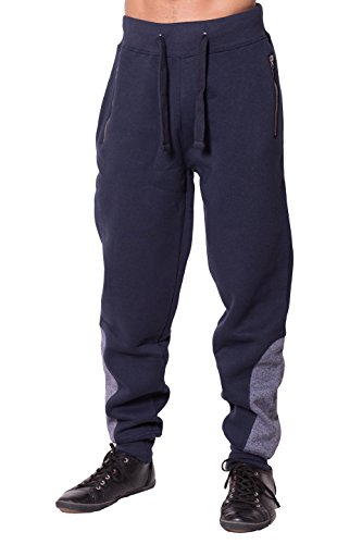 Noroze Herren Knöchel Kontrast Streifen Vlies Hose Trainingshose Jogginghose (XXL, Marine)