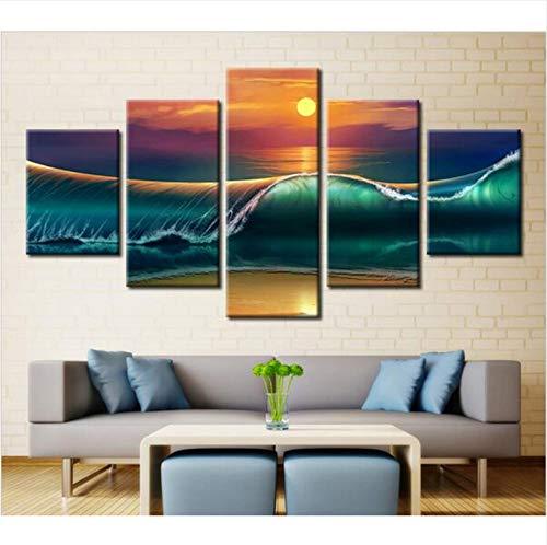 Wiwhy Moderne 5 Stück Leinwand Malerei Wandkunst Picturelandscape Poster Fantasie Anime Dream Landschaft Dekoration,10X15/20/25Cmwiwhy