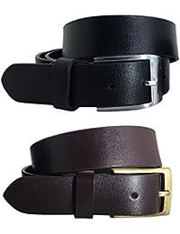 BRADLEY CROMPTON Mens Multipack Black & Brown (Set of 2 Belts) Twin Pack Full Leather Grain Casual Formal Belts