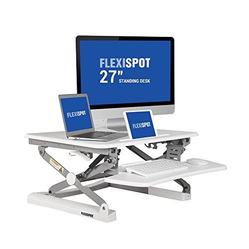 """FlexiSpot M1W 27""""(69cm Breit) Sitz-Steh-Schreibtisch Steharbeitsplatz Computertisch Weiß Neu"""