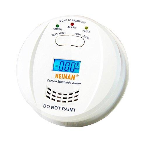Heiman Kohlenmonoxidmelder CO Alarm Gasmelder mit Display CO Melder Kohlenmonoxid und Höchstwertspeicherung HM-723ESY -