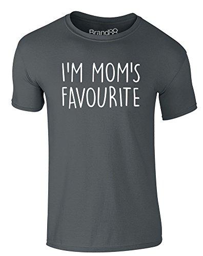 Brand88 - I'm Mom's Favourite, Erwachsene Gedrucktes T-Shirt Dunkelgrau/Weiß