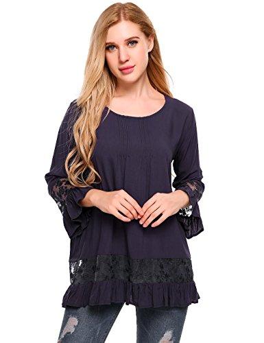 Meaneor Camisetas Largas Mujer de Encaje Empalme Cuello O Blusas de fiesta S-XXL