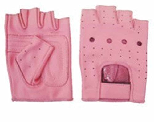 Allstate Leather Ladies Pink Leather Fingerless Motorcycle Gloves with Padded Palm L Pink