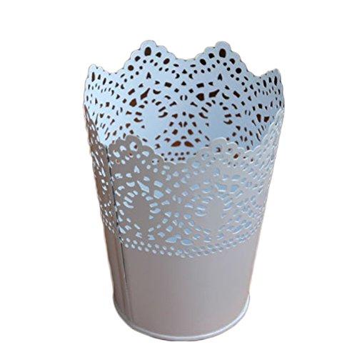 Kleiner, farbiger Eimer von iTemer, der an einem Schreibtisch wunderbar als Blumentopf, Vase, Bleistifthalter und Behälter für Makeup-Pinsel eingesetzt werden kann, weiß, 12*9cm