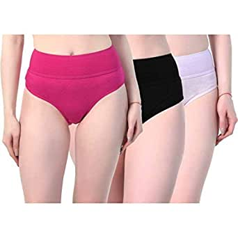 AJ FASHIONS Women's Cotton Tummycontrol Multiclour Panty/Hipster [Pack of 3] + Free Transparent Strap[1 Pair ] with This Pack