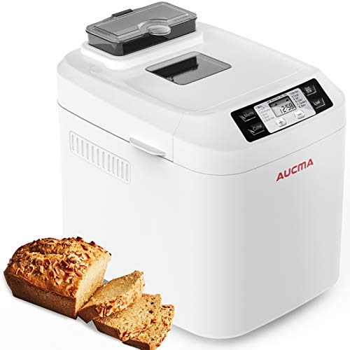 AUCMA Brotbackautomat Brotbackmaschine Brotbäcker 12 Backprogramme,Backmeister mit Automatische Zutatenbox,3 Versch Bräunungsgrade,Glutenfrei BPA-frei, LCD Bildschirm und Warmhaltefunktion