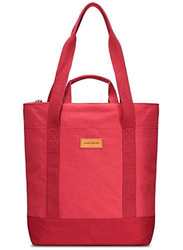 Convertible Schulter Tasche (Bernstein & Ash Convertible Laptop Tote Rucksack Schulter Hand Tasche Wasserabweisend für 33cm Notebook, MacBook Rot Rot)