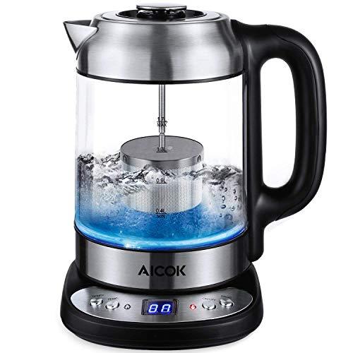 Aicok bollitore elettrico, bollitore in vetro con 10 temperatura regolabile, 1.7l teiera elettrico con filtro da tè in acciaio inox, 2200w bollitore da acqua rapido con led blu , spegnimento auto