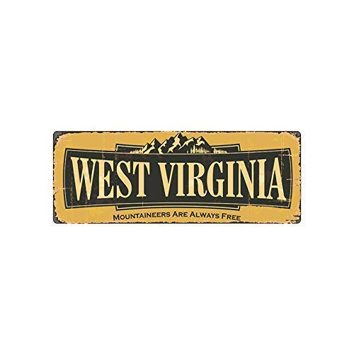 DKISEE Aluminum Safety Sign West Virginia Vintage Durable Rust Proof Warning Sign Aluminum Metal Sign 8