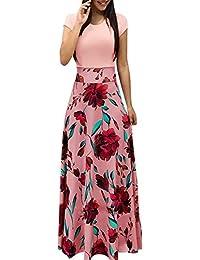 Maxi Kleid Damen Blumen Lange Kleid Elegant Boho Kurzarm Maxikleid Casual  High Waist Böhmischen Strandkleider Partykleid 45b1631a4d