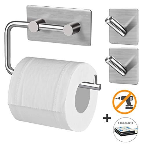 DIAOPROTECT Toilettenpapierhalter mit 2*Handtuchhaken+ 3*Erzatzkleber selbstklebend ohne Bohren aus Edelstahl für Badzimmer Küche