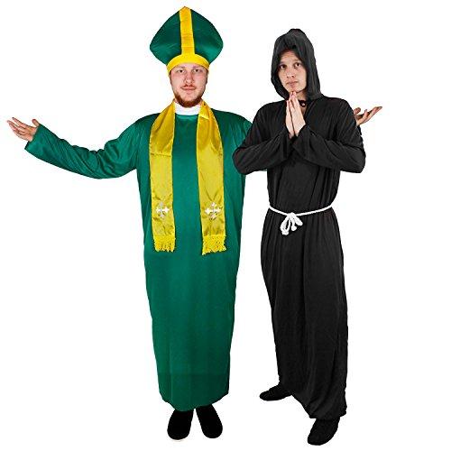 Und Kostüm Für Teufel Engel Paare - IRISCHES Pater+SCHWARZES MÖNCH KOSTÜM=Paare VERKLEIDUNG Priester/MÖNCH Vater/Pater=BISCHOF-Kardinal IRISCHE Sankt Patrick Day= Priester-XXLarge + MÖNCH-XLarge