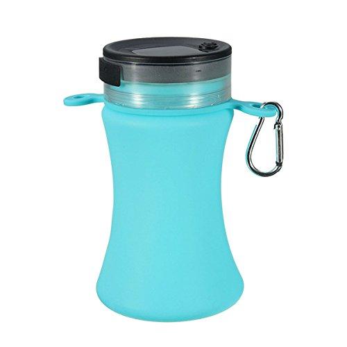 sorliva Solar LED Camping Latern & 550ml zusammenklappbar Silikon Wasserdicht Sport Wasser Flasche blau