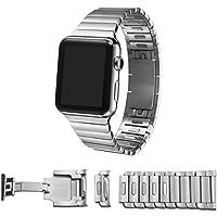 Apple Watch Cinturino, Fullmosa® 42mm 1:1 Sostituzione Staccabile Acciaio Inossidabile Originale Bracciale a Maglie con Chiusura a Farfalla per Apple Watch, Argento