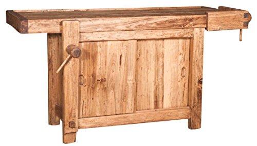 Banco da lavoro Country in legno massello di tiglio finitura naturale 188x78x92 cm