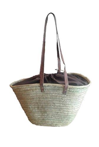 Capazo de Palma con asas larga de cuero, cierre tipo saco. Cesto o Bolso de mimbre para la playa, fibras naturales. 9V, aprox. 48x30 cm