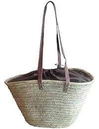 Capazo de Palma con asas larga de cuero, cierre tipo saco. Cesto o Bolso