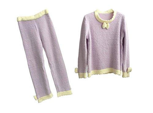 QPALZM Belle Automne Chaud Et L'hiver, Mme Corail Lâche Pyjama Costume De Velours purple