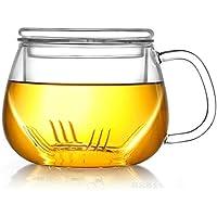 na Tetera cristalería Taza de té Taza de té Redonda Resistente al Calor Transparente con Tapa con Filtro Taza de Oficina