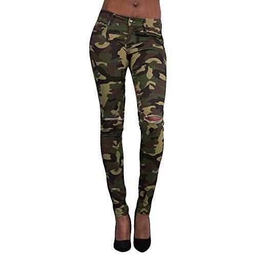 FRAUIT Camouflage Mitte taillierte Leggings DamenY oga Hose Pants Frauen Mädchen Loch Stretch dünne Hosen Kalb Länge Hosen - Mitte Kalb Länge Rock