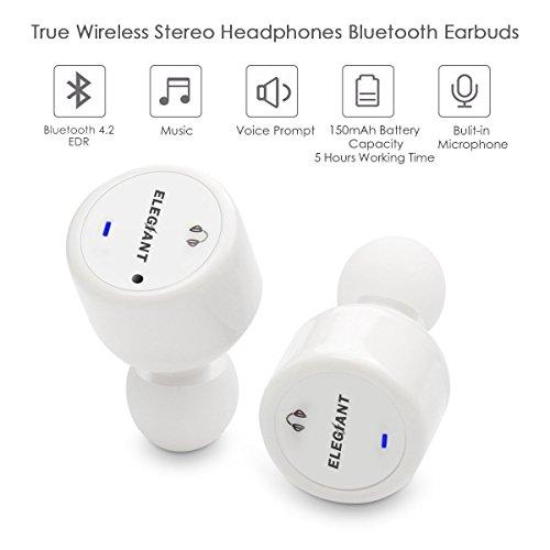 Mini Bluetooth Kopfhörer, ELEGIANT Absolut drahtlose Bluetooth Earbuds Headphones mit Dual Nutzung Zwei Ohren Zwillinge Stereo Noise Canceling In-Ear Ohrhörer Headsets mit Mikrofon Freisprecheinrichtung Car Kit für iPhone 7 6 6S Plus Samsung Galaxy S5...