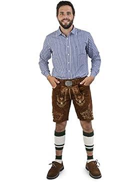 Herren Lederhose Wiesnstreif kurz mit Gürtel - Trachtenlederhose Oktoberfest inkl. Trachtengürtel