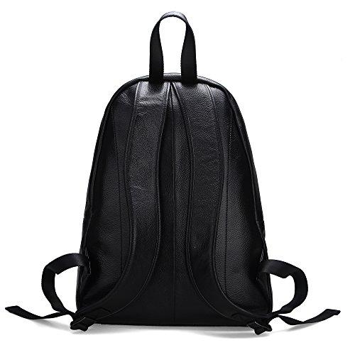 Damero Genuine Leather zaino da viaggio zaino Daypack School Pack, nero nero