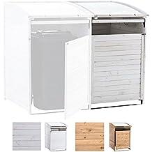 CLP Mülltonnenbox Holz 240 Liter, 1 Tonne, aufklappbares Dach, Tür mit Verschluss Mülltonnenbox-Erweiterung SX240, weiß
