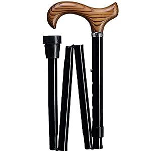 Gastrock Gehstock Faltstock mit Derby-Griff aus Holz höhenverstellbar, matt schwarz