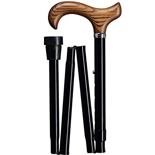 Derby-griff Mit Holz-spazierstock (Gastrock Gehstock Faltstock mit Derby-Griff aus Holz höhenverstellbar, matt schwarz)