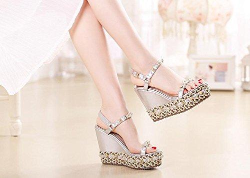BaiLing Damen Sommer Sandalen / Wedge Heel wasserdicht / dicken Boden / Niet kleine Größe Schuhe Silver