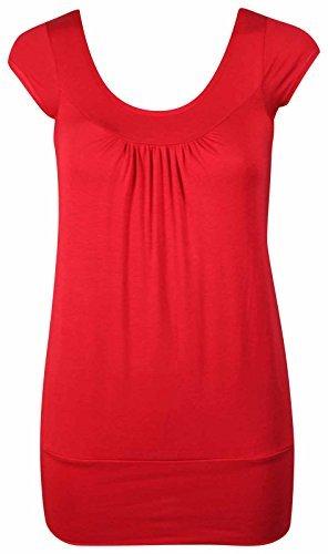 NEU Damen kurze Flügelärmel gerafft T-Shirt Damen einfarbig Freizeit RUNDHALS STRETCH FIT TOP - Rot, 46 (T-shirt Rüschen-hals)
