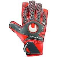 uhlsport - AERORED Soft Advanced - Gant Gardien Football - Paume Latex Soft Advanced - Coupe Classique - Gris foncé/Rouge Fluo/Blanc