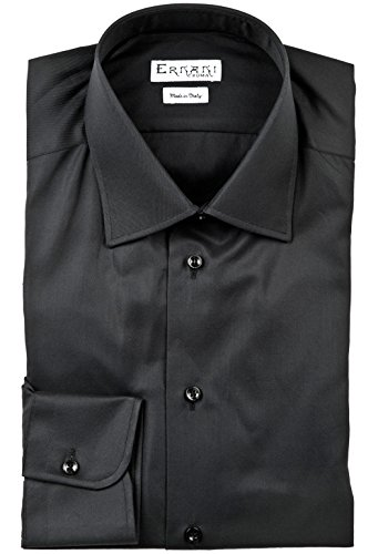 Ernani Chemise Twill Noir Slim Fit, Col classique, Homme - Made in Italy - Noir