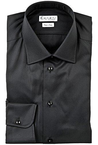 Preisvergleich Produktbild Ernani Twill-Herrenhemd, Slim-Fit, Haifischkragen, hergestellt in Italien, Schwarz