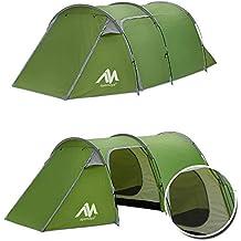 Tienda de campaña tipo túnel familiar para acampada,3 personas,2 habitaciones,ultraligera