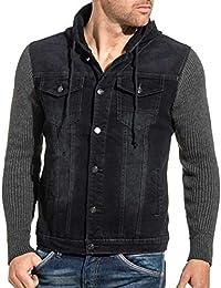 b3a4a4de84e4e BLZ Jeans - Veste en Jeans 2175 Homme bi-matière Bleu Brut à Capuche