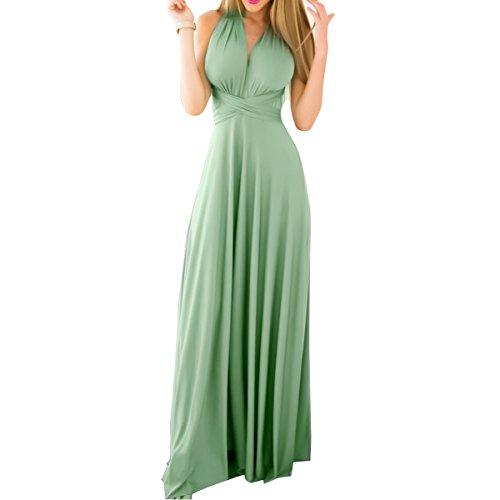 OBEEII Damen Kleider Multi-tragen Ärmelloses Langes Kleid Sexy Enges Multi Way Bandage Dress Frauen Abendkleider für Festlich Hochzeit Cocktail Party Prom Hellgrün M Zebra Formale Kleider