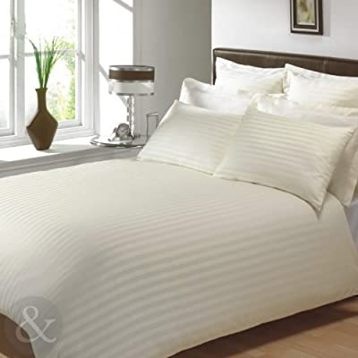 100% EGYPTIAN COTTON SATEEN DUVET COVERS - Luxury Satin Stripe Bedding Bed Set Cream King Size Quilt Cover ( kingsize sateen - low-cost UK light shop.
