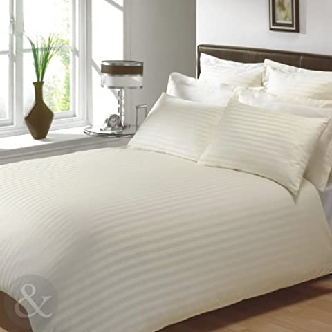 100% EGYPTIAN COTTON Duvet Covers - Luxury Satin Stripe Bedding Set Cream Double Quilt Cover ( luxury bed linen by Just Contempo