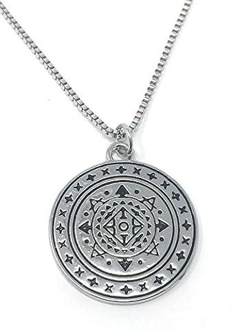Silberton Heidnisches Keltisches Schild Auf Englisch Gravierte Anhanger Halskette 2.5cm Mit 45cm Kette Wicca Kunst Okkulte