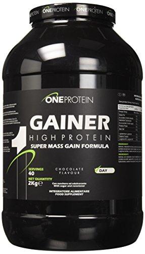 One Protein Gainer integratore alimentare a base di carboidrati e proteine con glutammina, arginina e creatina (Cioccolato, 2000 grammi)