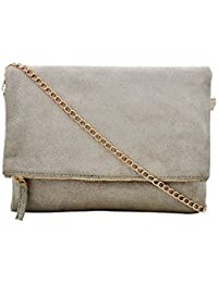 Yelloe Grey Faux Suede Sling Bag With Long Golden Chain Strap For Party Look