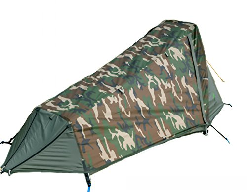 GEERTOP Bivvy Biwaksack Trekkingzelt Campingzelt Zelt Minipack Leicht - 213 x 101 x 91 cm H (1,9kg) -1 Person 3 bis 4 Jahreszeiten für Outdoor-Camping Wandern Reisen und Klettern (Camouflage)