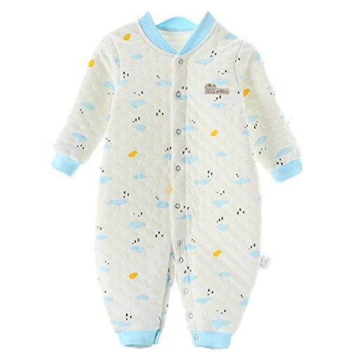 Chickwin Neugeborene Kleidung, Unisex 100% Reine Baumwolle Warme Herbst und Winter Säuglinge Mädchen Jungen Jumpsuit Baby Schlafanzug (80 cm (12-18 Monate), Blau)
