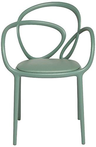 Qeeboo Loop Set Sedie con Cuscino, Polipropilene, Verde Salvia, 52x56x84 cm, 2 unità