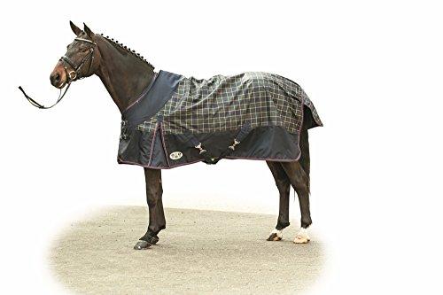 HKM Weidedecke - Check - mit 300 gramm Wattefüllung, dunkelblau/grün/rotes karo, Rückenlänge 115 cm