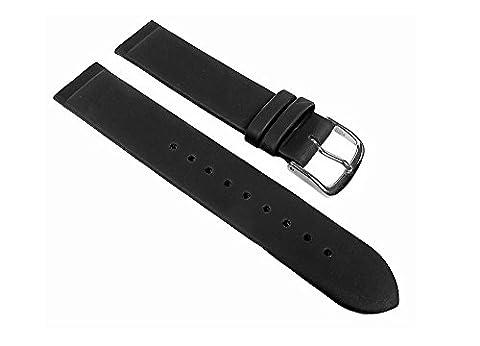 Minott Ersatzband Leder Schwarz Anstoß zum verschrauben passend zu Skagen, Boccia, Bering 22534S, Stegbreite:20mm